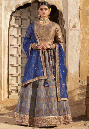 Embroidered Art Silk Jacquard Lehenga in Grey