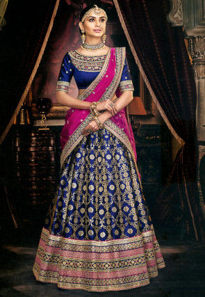 Embroidered Art Silk Jacquard Lehenga in Navy Blue