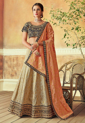 Embroidered Art Silk Jacquard Lehenga in Off White