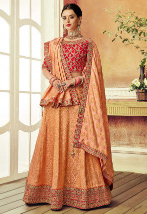 Embroidered Art Silk Jacquard Lehenga in Peach