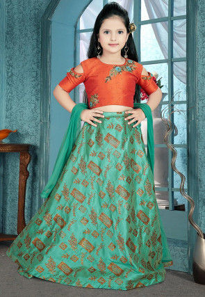 Embroidered Art Silk Jacquard Lehenga in Teal Green