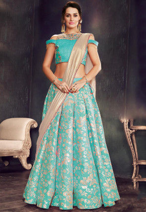 Embroidered Art Silk Jacquard Lehenga in Turquoise