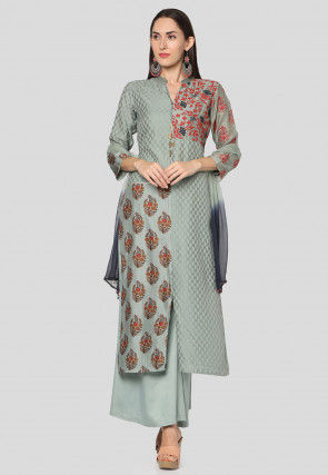Embroidered Art Silk Jacquard Pakistani Suit in Dusty Green