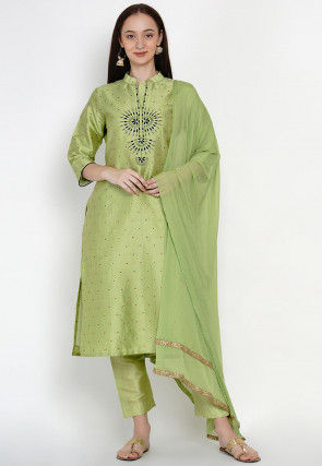 Embroidered Art Silk Jacquard Pakistani Suit in Light Green