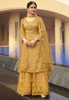 Embroidered Art Silk Jacquard Pakistani Suit in Mustard