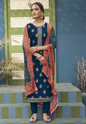 Embroidered Art Silk Jacquard Pakistani Suit in Navy Blue