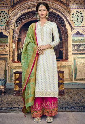 Embroidered Art Silk Jacquard Pakistani Suit in Off White
