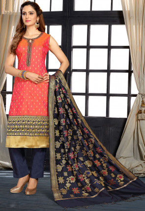Embroidered Art Silk Jacquard Pakistani Suit in Orange