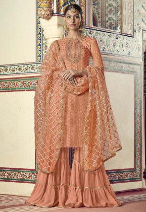 Embroidered Art Silk Jacquard Pakistani Suit in Peach