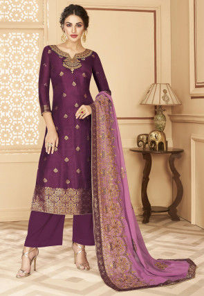Embroidered Art Silk Jacquard Pakistani Suit in Purple