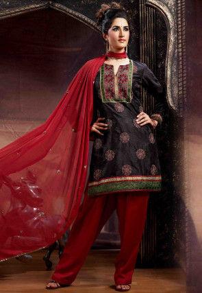 Embroidered Art Silk Jacquard Punjabi Suit in Black