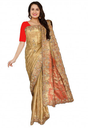 Embroidered Art Silk Jacquard Saree in Beige
