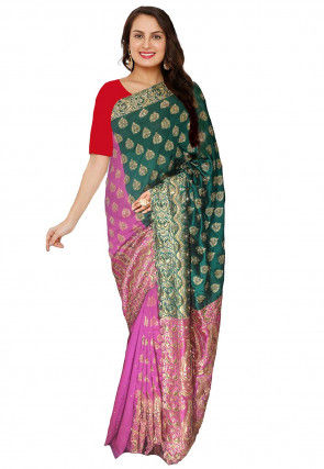 Embroidered Art Silk Jacquard Saree in Dark Green and Pink
