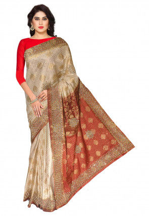 Embroidered Art Silk Jacquard Saree in Light Beige