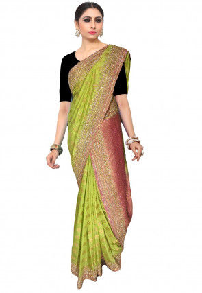 Embroidered Art Silk Jacquard Saree in Light Green