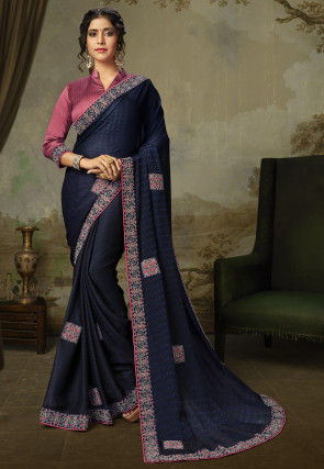 Embroidered Art Silk Jacquard Saree in Navy Blue