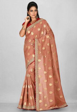 Embroidered Art Silk Jacquard Saree in Peach