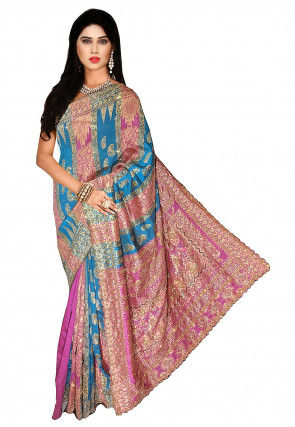 Embroidered Art Silk Jacquard Saree in Pink and Blue