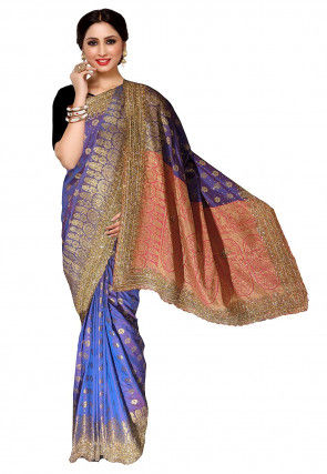 Embroidered Art Silk Jacquard Saree in Purple and Blue Dual Tone