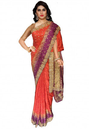 Embroidered Art Silk Jacquard Saree in Rust