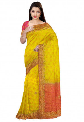 Embroidered Art Silk Jacquard Saree in Yellow