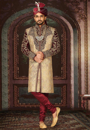 Embroidered Art Silk jacquard Sherwani in Beige