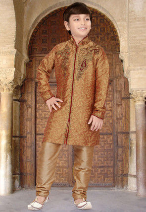 Embroidered Art Silk Jacquard Sherwani in Copper