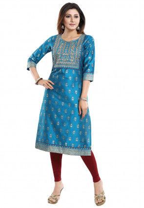 Embroidered Art Silk Jacquard Straight Kurta in Blue