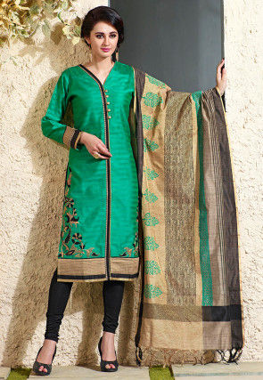 Embroidered Art Silk Jacquard Straight Suit in Green