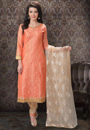 Embroidered Art Silk Jacquard Straight Suit in Light Orange