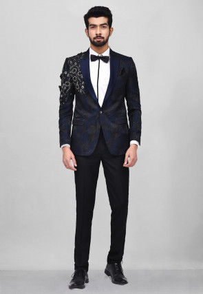 Embroidered Art Silk Jacquard Tuxedo in Navy Blue