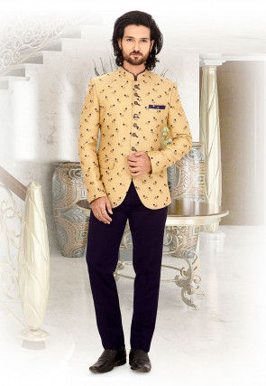 Embroidered Art Silk Jodhpuri Suit in Beige
