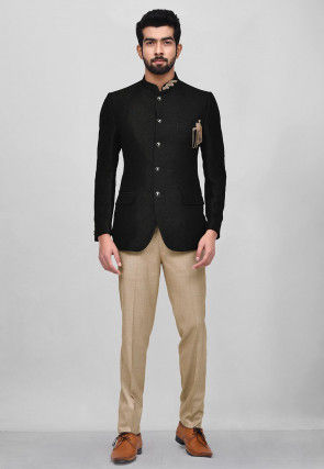 Embroidered Art Silk Jodhpuri Suit in Black