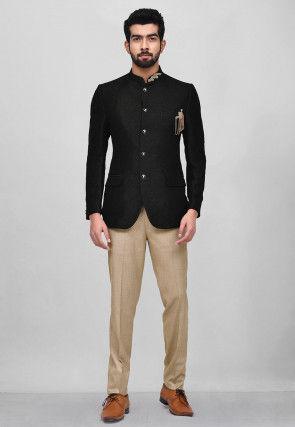 Embroidered Art Silk Jodhpuri Suit in Black