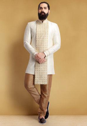 Embroidered Art Silk Jodhpuri Suit in Off White