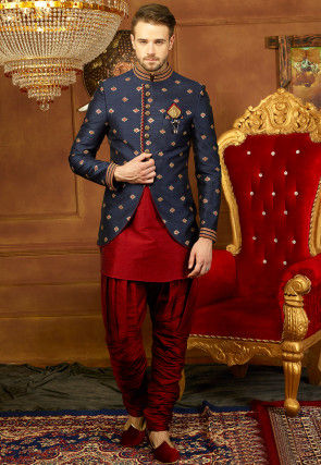 Embroidered Art Silk Jodhpuri Suit with Jacket in Maroon and Navy Blue
