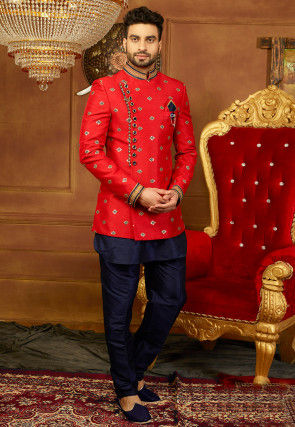 Embroidered Art Silk Jodhpuri Suit with Jacket in Navy Blue and Red