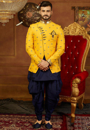 Embroidered Art Silk Jodhpuri Suit with Jacket in Navy Blue and Yellow