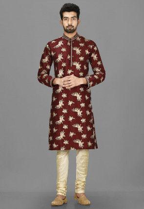 Embroidered Art Silk Kurta in Maroon