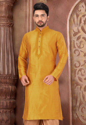 Embroidered Art Silk Kurta in Mustard