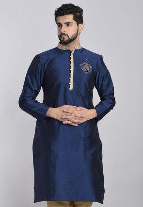 Embroidered Art Silk Kurta in Navy Blue