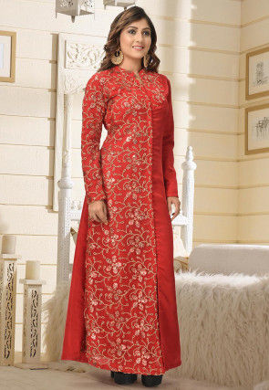 Embroidered Art Silk Kurta in Red