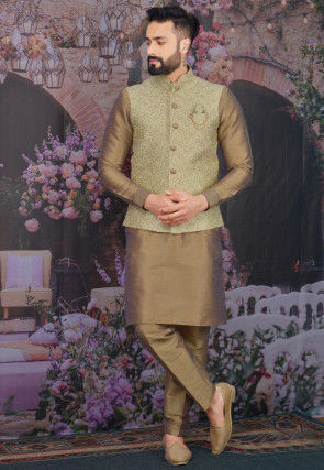 Embroidered Art Silk Kurta Jacket Set in Beige and Pastel Green