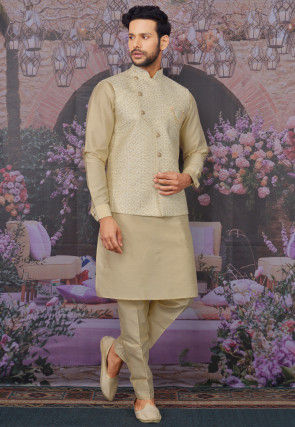 Embroidered Art Silk Kurta Jacket Set in Beige