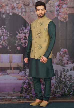 Embroidered Art Silk Kurta Jacket Set in Dark Green and Beige
