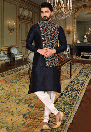 Embroidered Art Silk Kurta Jacket Set in Navy Blue and Navy Blue