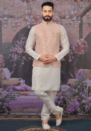 Embroidered Art Silk Kurta Jacket Set in Off White and Peach
