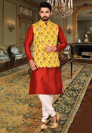 Embroidered Art Silk Kurta Jacket Set in Red and Mustard