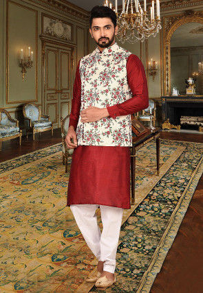 Embroidered Art Silk Kurta Jacket Set in Red and Off White