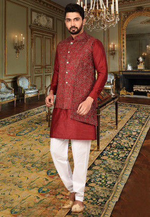 Embroidered Art Silk Kurta Jacket Set in Red and Red
